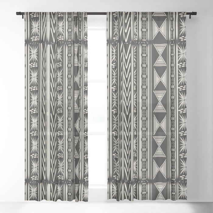 Boho Mud cloth (Black and White) Sheer Curtain