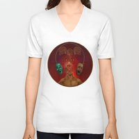 cycling V-neck T-shirts featuring Rapid Cycling by The Art of Chris Johnson