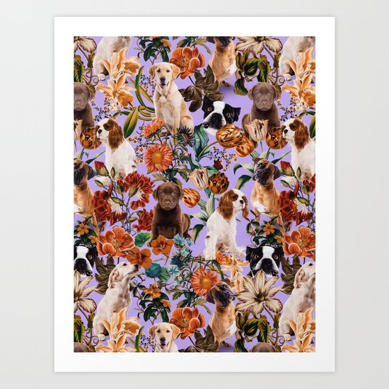 Dog and Floral Pattern Art Print