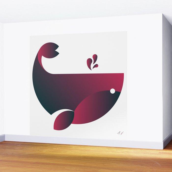 Whale - Watermelon Wall Mural