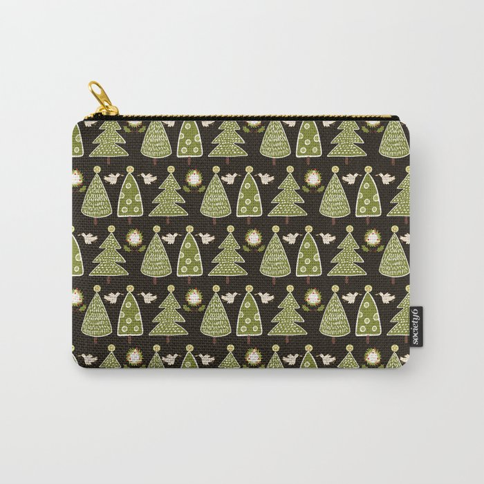 Traditional Christmas Trees Doodle Carry-All Pouch