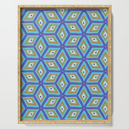 Blue and Gold Tilted Cubes Pattern Serving Tray