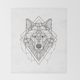 Geometric Wolf Throw Blanket