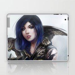 Carry on - Fantasy archer hunter girl with hawk bird Laptop & iPad Skin