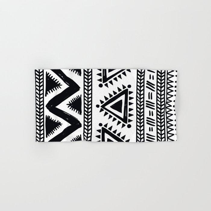 Tribal Black And White Hand Bath Towel