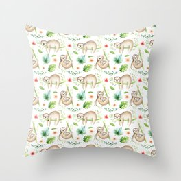 Modern hand painted green brown watercolor tropical floral sloth Throw Pillow