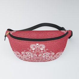 Red background with white love mandala Fanny Pack