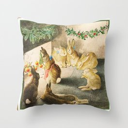 Bunnies roasting apples over an open fire Throw Pillow