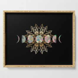 Opal Moon and Gold Stars Serving Tray