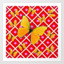 Yellow Butterflies on Red Patterned Art Art Print