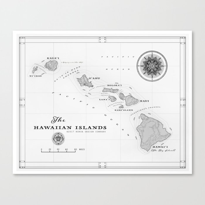 The Hawaiian Islands Black White Map Print Canvas Print By