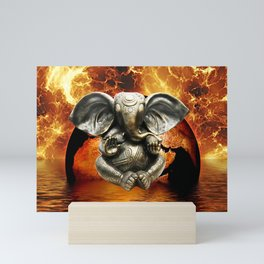 Elephant Ganesha and Earth Mini Art Print