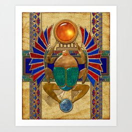 Sarcophagus 3d Egyptian Folk Art Art Print