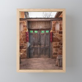 Doorway and Ristras in Lincoln, NM. Framed Mini Art Print
