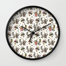 Cute Trendy Gardening Nature Flowers Watering Can Wall Clock