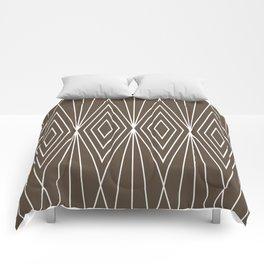 Simple Modern Diamond Lines Brown Comforters