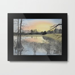 Nudity on the Water with border Metal Print