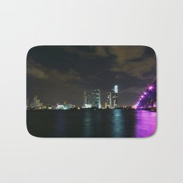 Miami night skyline Bath Mat