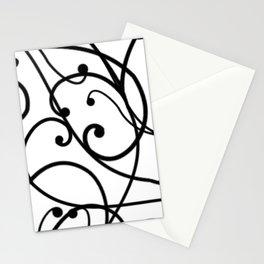 black thin pattern on white underground Stationery Cards