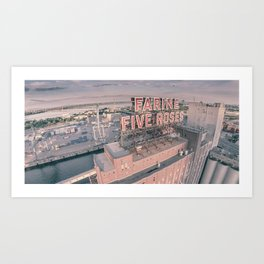 Montreal Skyline - Aerial View of Farine Five Roses  Art Print