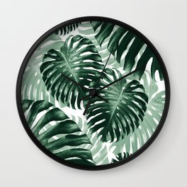 Tropical Monstera Jungle Leaves Pattern #1 #tropical #decor #art #society6 Wall Clock