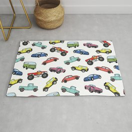 Cute Colorful Toy Car Illustration Pattern Rug
