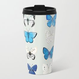 Lepitoptery No. 2 - Blue and White Butterflies and Moths Travel Mug
