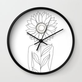 Minimalistic Line Art of Woman with Sunflower Wall Clock