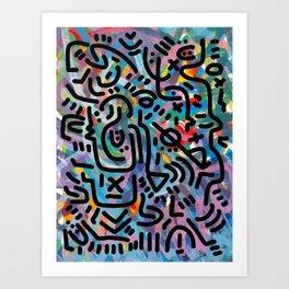 Life in the Jungle Graffiti Art Pattern by Emmanuel Signorino  Art Print
