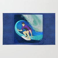surfing Area & Throw Rugs featuring Surfing  by Aquamarine Studio