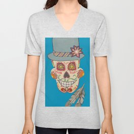 Sugar Skull Man with Hat on Blue Unisex V-Neck