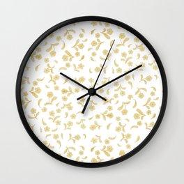 Shabby vintage orange brown bohemian floral pattern Wall Clock