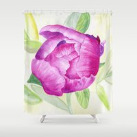 peony Shower Curtains featuring Peony by my first palette