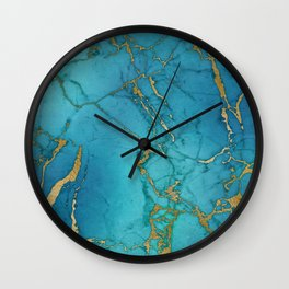 Electric Blue Marble Wall Clock