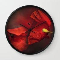 poppies Wall Clocks featuring Poppies by Ellen van Deelen