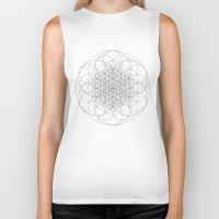 sacred geometry Biker Tanks featuring Flower of life sacred geometry by Elfina