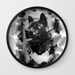 Akita Black Love Ink Portrait Wall Clock