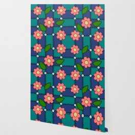 Retro Doodle Flower Style Quilt - Dark Blue and Green Wallpaper
