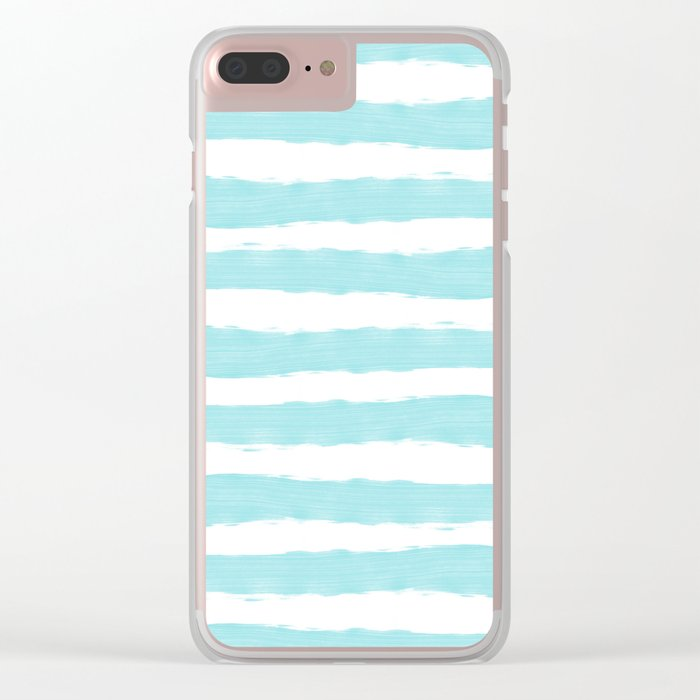 Aqua Blue- White- Stripe - Stripes - Marine - Maritime - Navy - Sea - Beach - Summer - Sailor 2 Clear iPhone Case