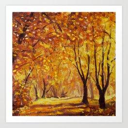 Sunny autumn wood - Palette Knife Oil Painting On Canvas By Valery Rybakow Art Print