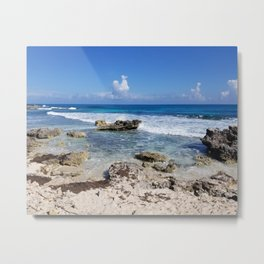 Rocky Beach, Cancun Mexico Isla Mujeres Carribean Clouds Blue Waves Metal Print