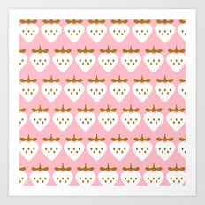 Pink pattern strawberry Art Print
