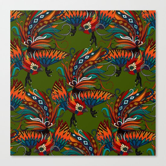 rooster ink green Canvas Print