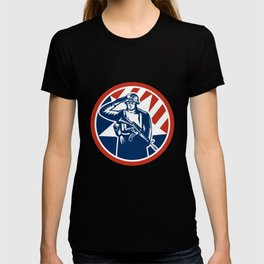 American Soldier Salute Holding Rifle Retro T-shirt