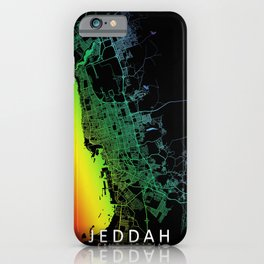 Jeddah, Saudi Arabia, City, Map, Rainbow, Map, Art, Print iPhone Case
