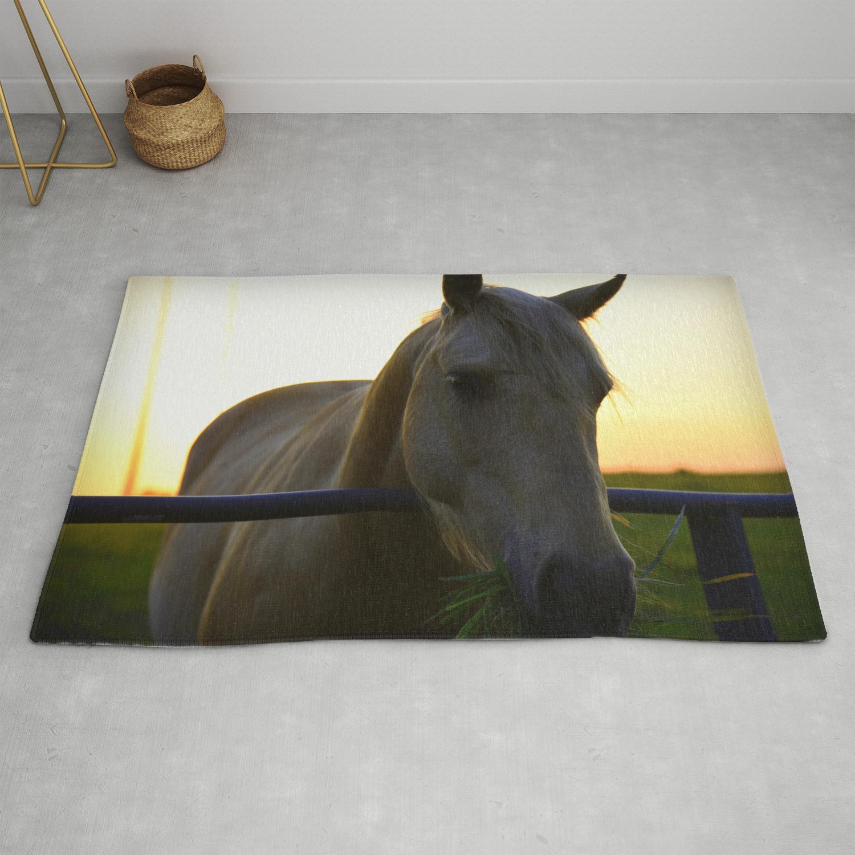 Beautiful Horse At Sunset Rug By Shadesofgreen26 Society6