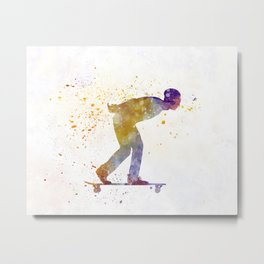 Man skateboard 03 in watercolor Metal Print