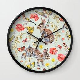 Bunny Meadow Pattern - Green Wall Clock