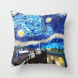 Tardis Art Starry City Night Throw Pillow