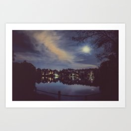 Hampstead Heath Lake at Night Art Print
